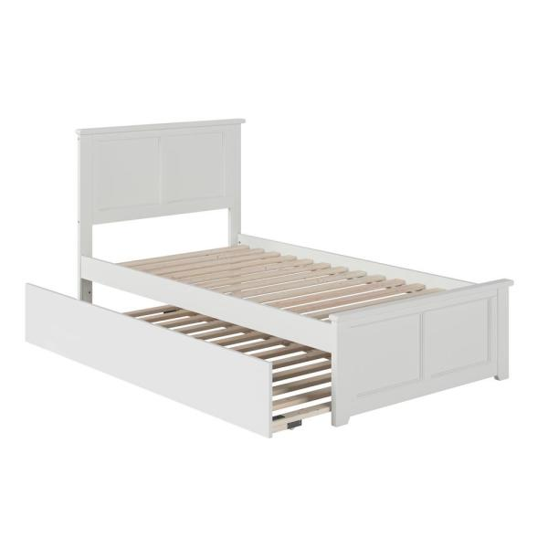 Madison Twin Extra Long Bed with Matching Footboard and Twin Extra Long Trundle in White