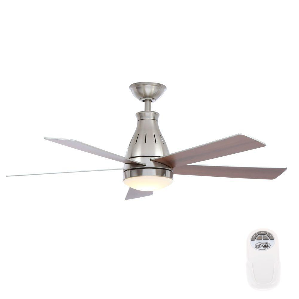 Hampton Bay Cobram 48 in. LED Indoor Brushed Nickel Ceiling Fan with Light Kit and Remote Control