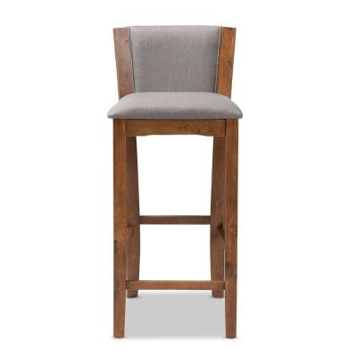 Tiago 39 in. Gray and Walnut Bar Stool (Set of 2)