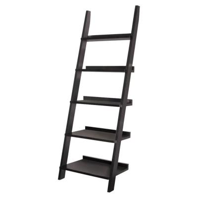 72.5 in. Black Wood 5-shelf Ladder Bookcase with Open Back
