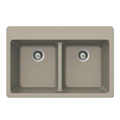 Quartztone Drop-In Composite Granite 33 in. Double Bowl Kitchen Sink in Taupe