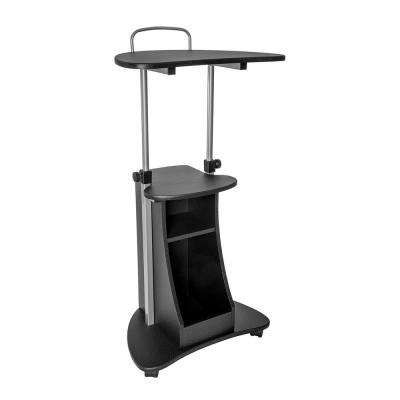 Graphite Sit-to-Stand Rolling Adjustable Height Laptop Cart with Storage
