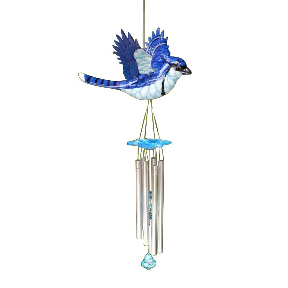 Exhart Large Windywings Blue Jay Wind Chime 40206 The