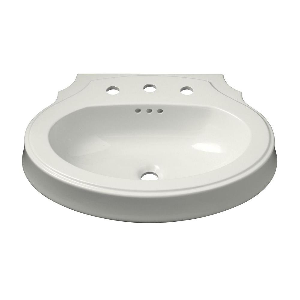 KOHLER Leighton 4-1/8 in. Pedestal Sink Basin in White