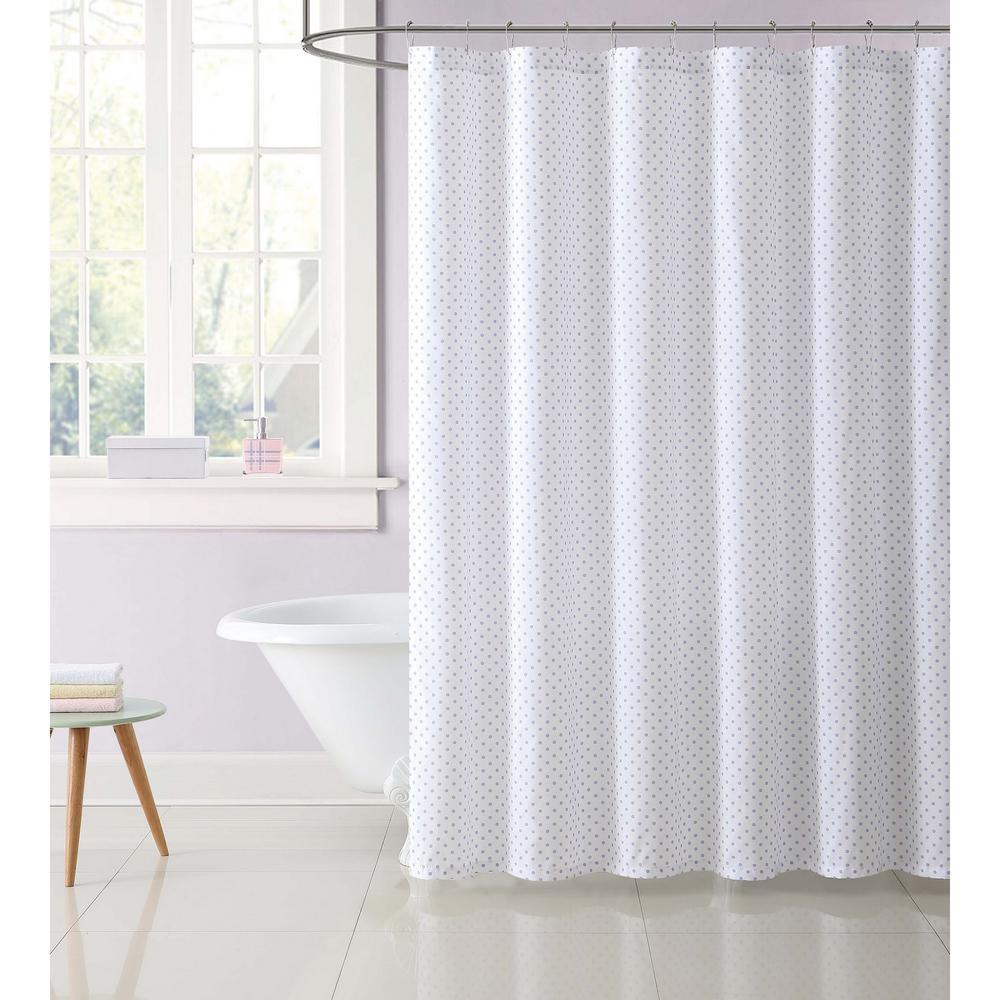 Kids 72 in. Purple Dot Shower Curtain