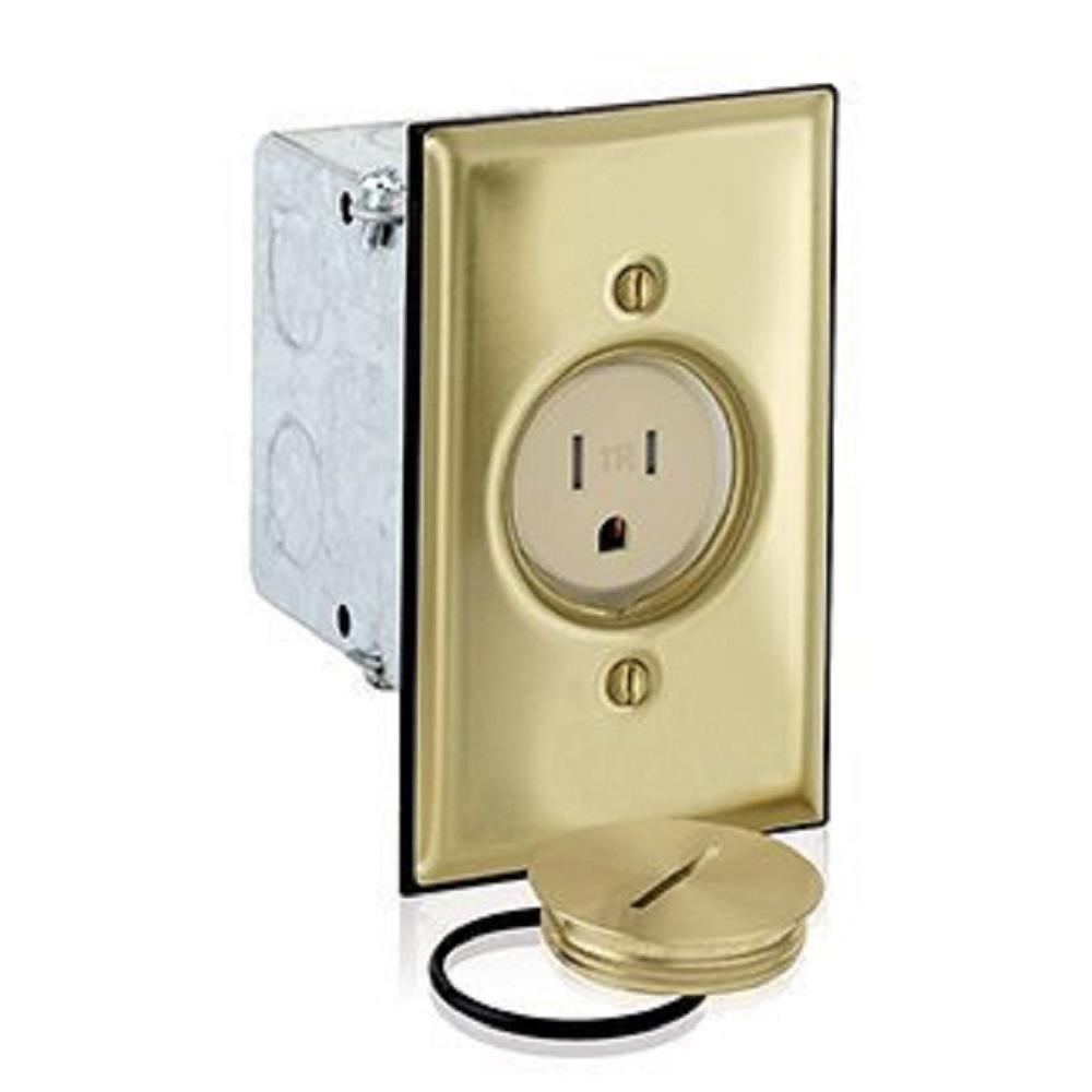 15 Amp Commercial Grade Tamper Resistant Single Outlet Floor Box, Ivory/Brass