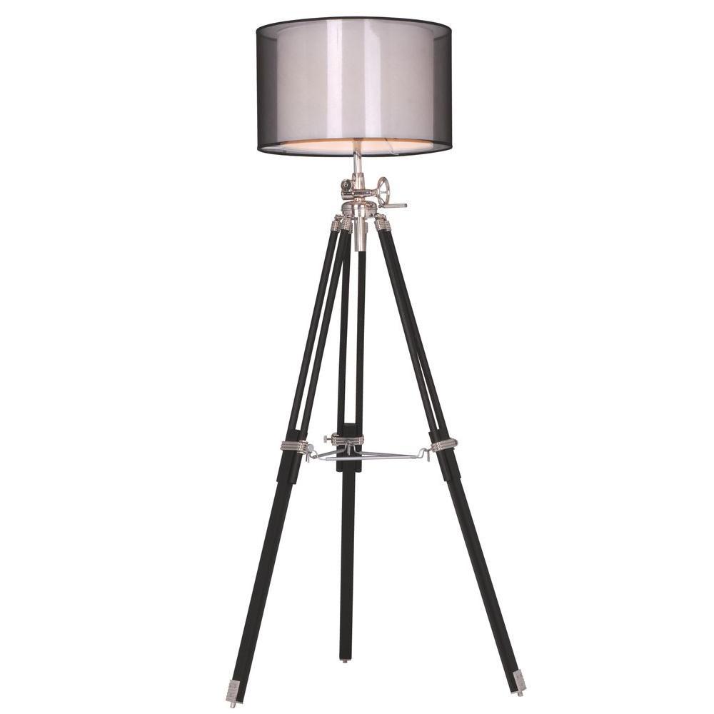 Elegant Lighting Ansel Tripod 73 In Chrome And Black Floor Lamp