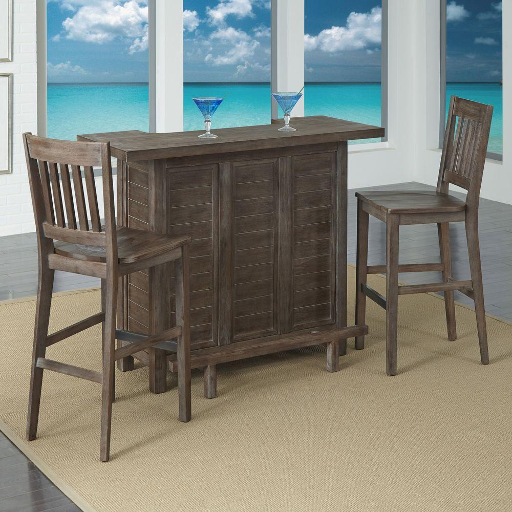 Home Styles Barnside Wood Top Cocktail Bar and 2-Stool in Aged Finish