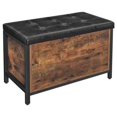 31.5 in. L x 15.7 in. W x 19.7 in. H Black and Brown Button Tufted Leatherette Flip Top Storage Bench