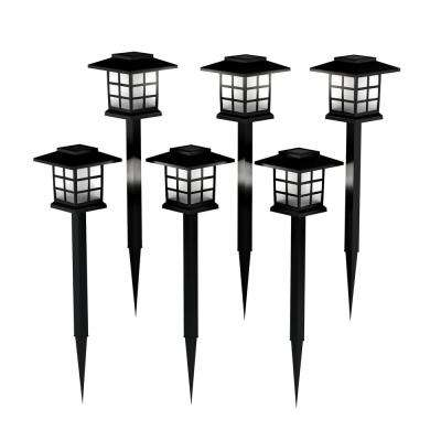 15 in. Black Outdoor Integrated LED Landscape Solar Coach Path Lights (6-Pack)