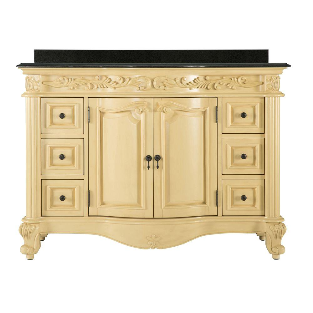 null Estates 49 in. Vanity in Antique White with Granite Vanity Top in Black