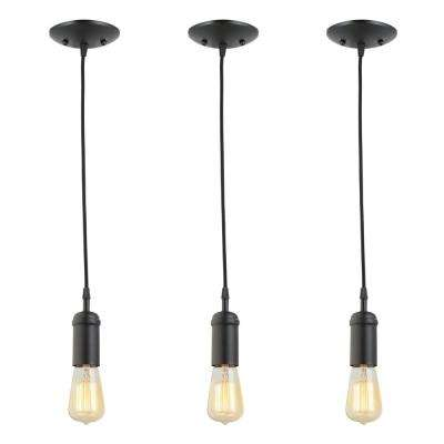 1-Light Black Vintage Pendant with Black Woven Fabric Cord with Adjustable Upto 60 in. (Pack of 3)