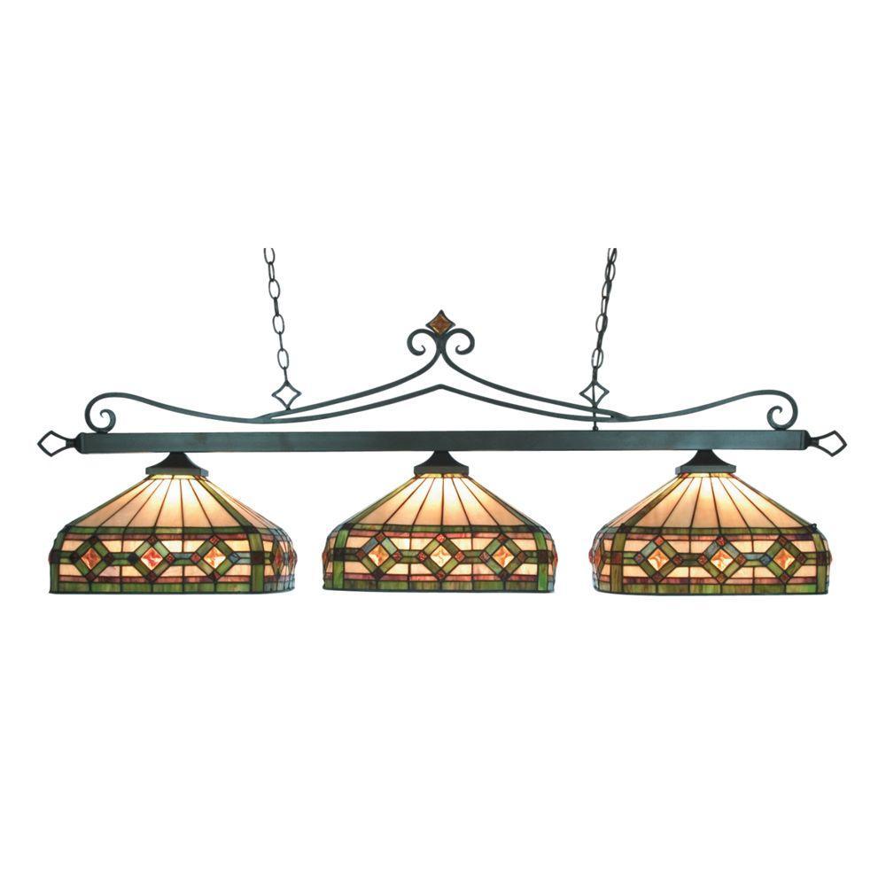 Titan Lighting Tiffany Lighting/Billiard/Island 3-Light Ceiling Mount Tiffany Bronze Island Light