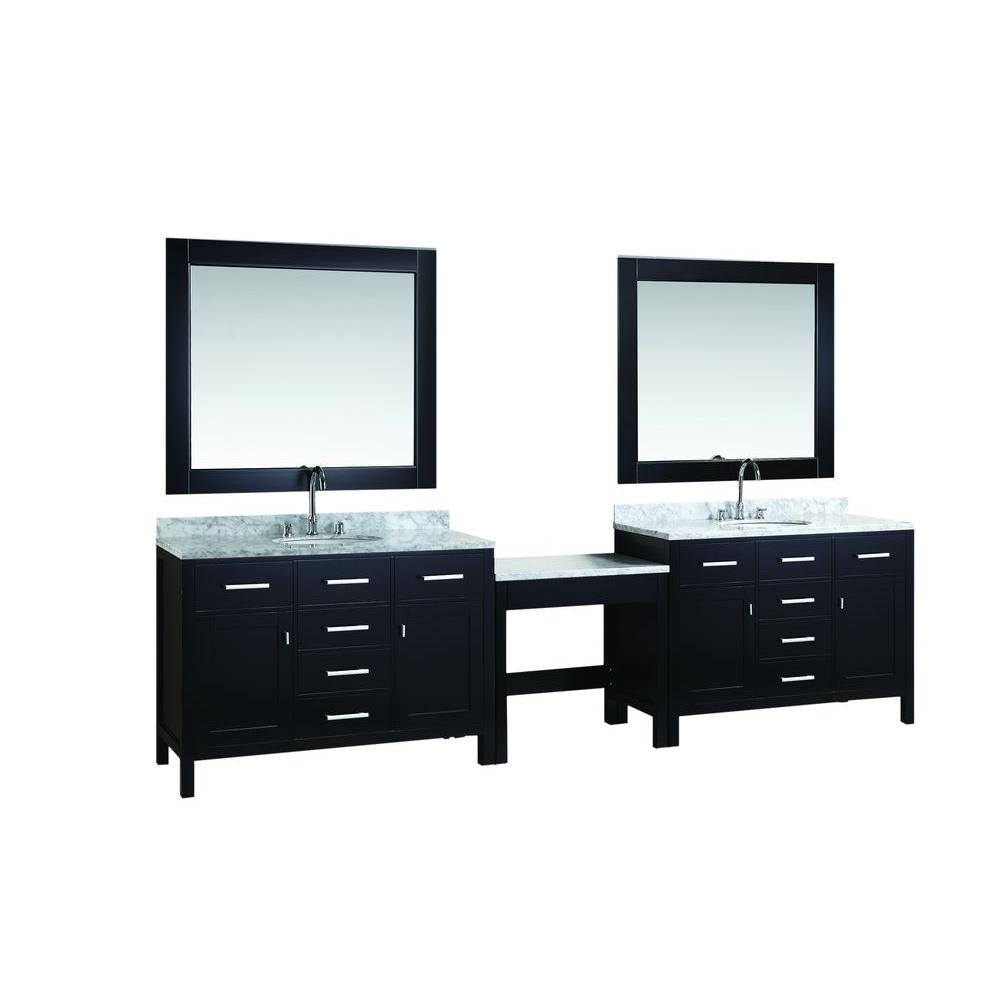 Design Element Two London 48 in. W x 22 in. D Vanity in Espresso with Marble Vanity Top in Carrara White, Mirror and Makeup Table