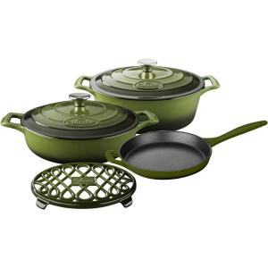 Click here to buy La Cuisine PRO 6-Piece Enameled Cast Iron Cookware Set with Saute, Skillet and Oval Casserole with Trivet in Green by La Cuisine.