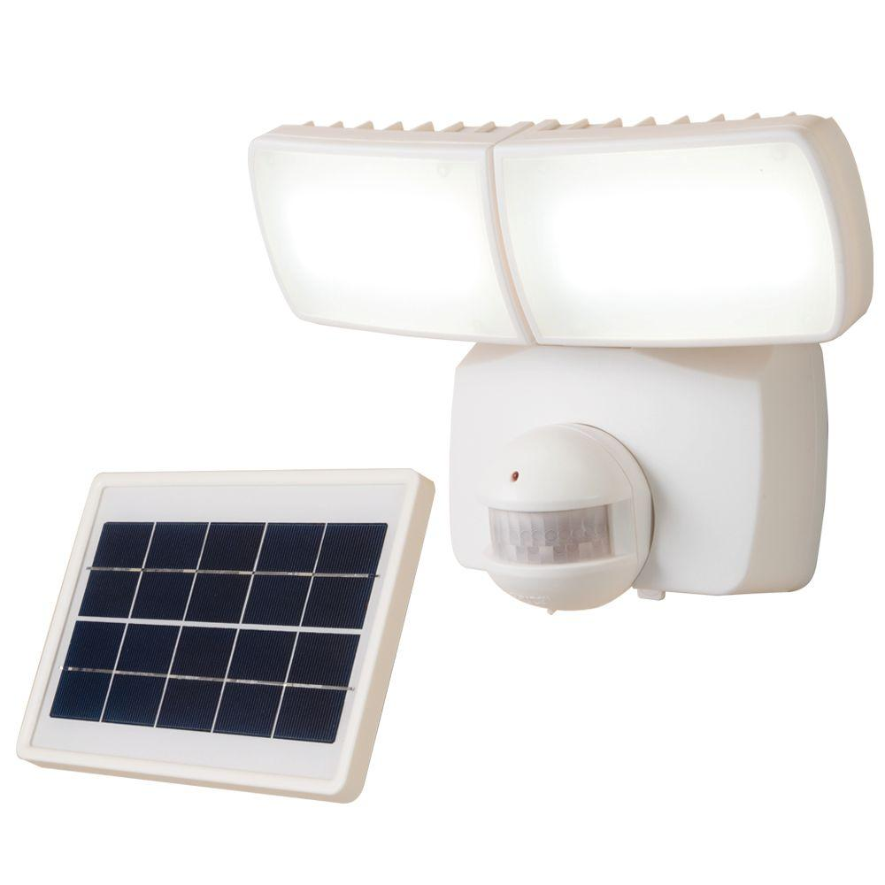 Defiant 180 Degree White Solar Motion Activated LED Twin