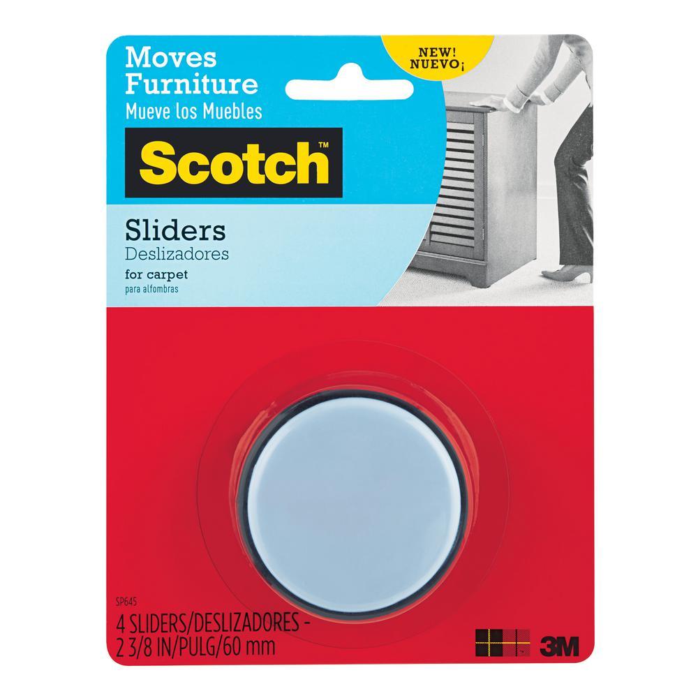 Scotch 2-3/8 in. Gray/Black Round Self-Stick Permanent Furniture Sliders (4-Pack)