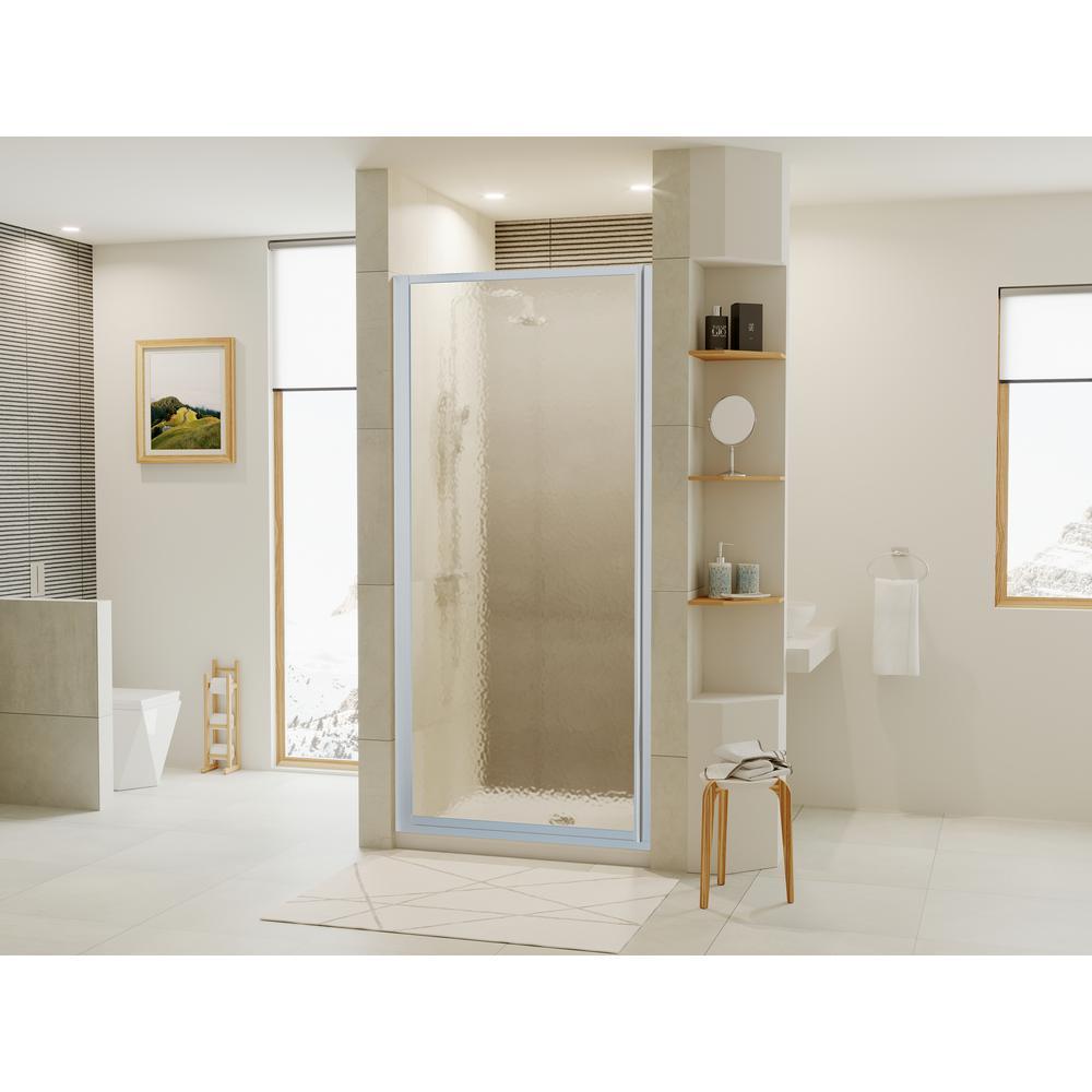 Shower Doors.Coastal Shower Doors Legend Series 22 In X 64 In Framed Hinged Shower Door In Platinum With Obscure Glass