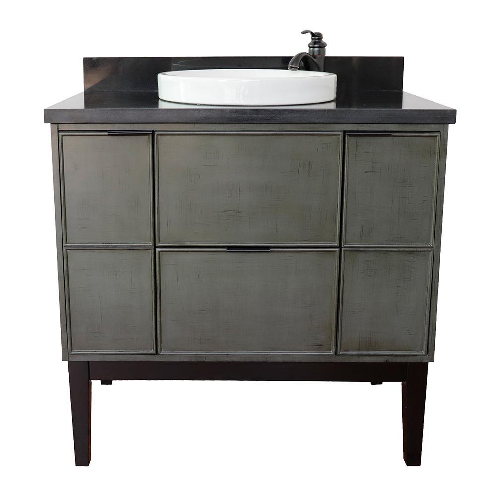 Scandi II 37 in. W x 22 in. D Bath Vanity in Gray with Granite Vanity Top in Black with White Round Basin