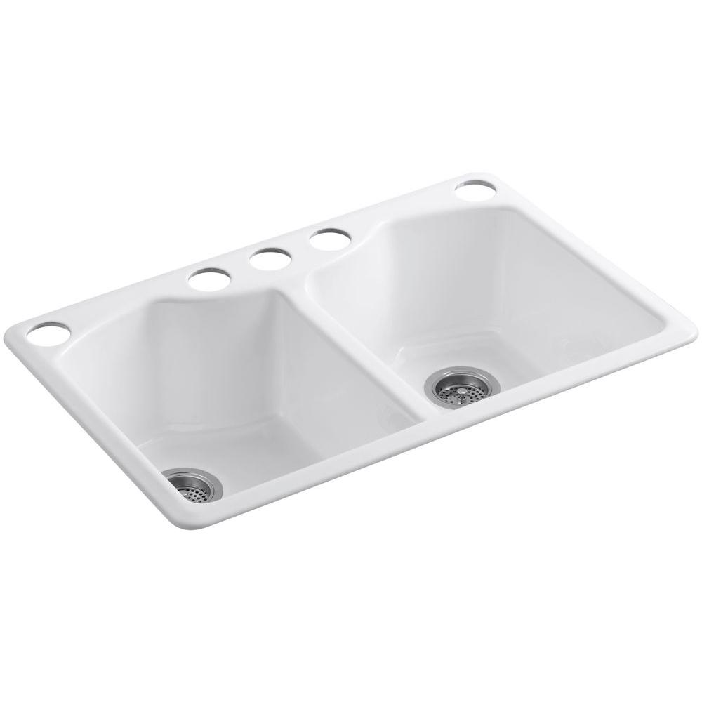 kohler double kitchen sink kohler bellegrove undermount cast iron 33 in 5 6682