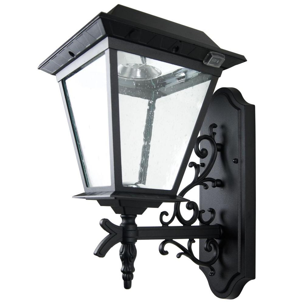 XEPA Timer Activated 12 hrs. 200 Lumen Wall Mount Outdoor Black Solar LED Lamp