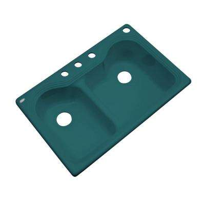 Breckenridge Drop-In Acrylic 33 in. 4-Hole Double Basin Kitchen Sink in Teal