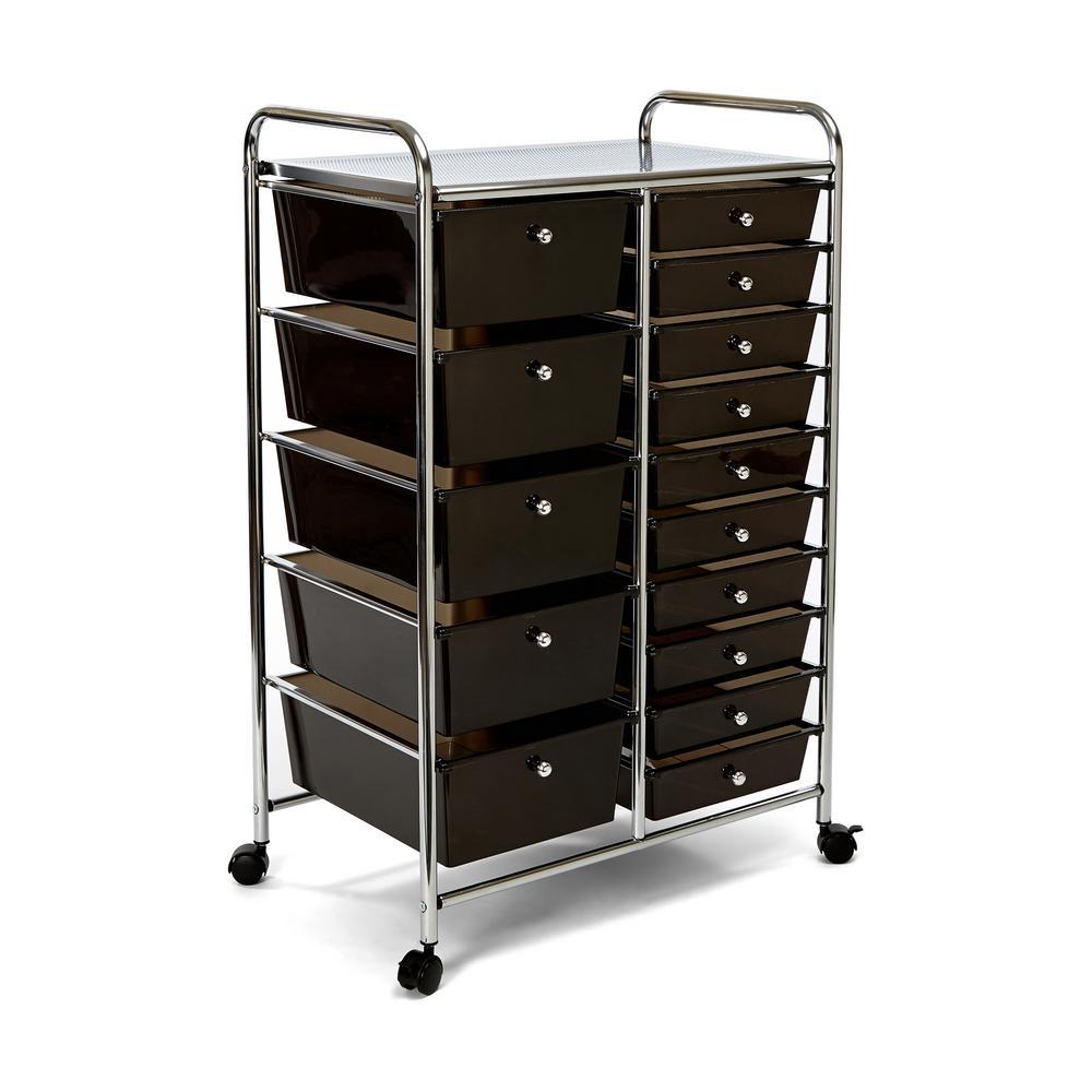 15-Drawer Steel Organizer Wheeled Cart in Black