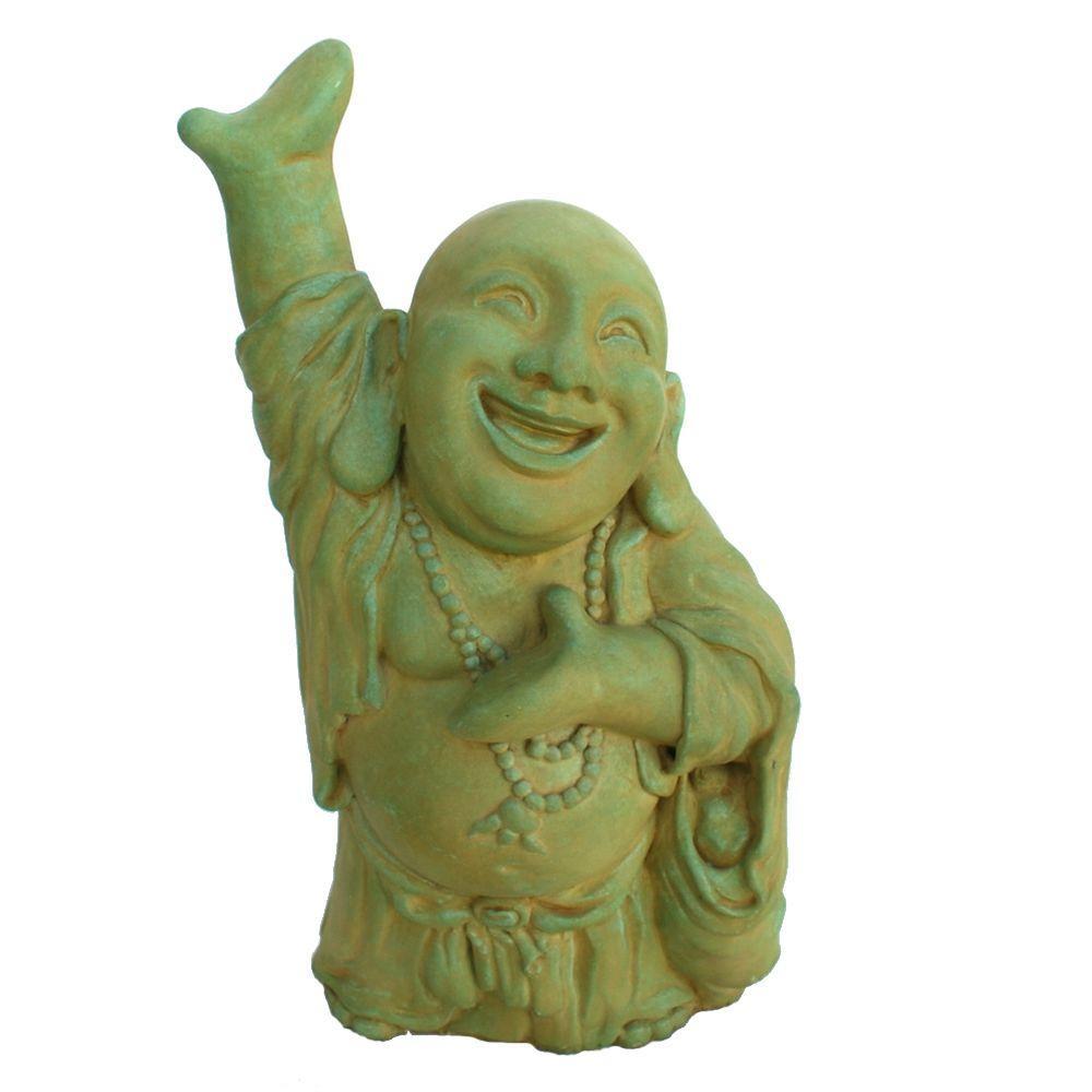 Cast Stone Hotai Buddha Garden Statue, Weathered Bronze