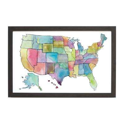 Watercolor US Map, EBONY FRAME, Magnetic Memo Board