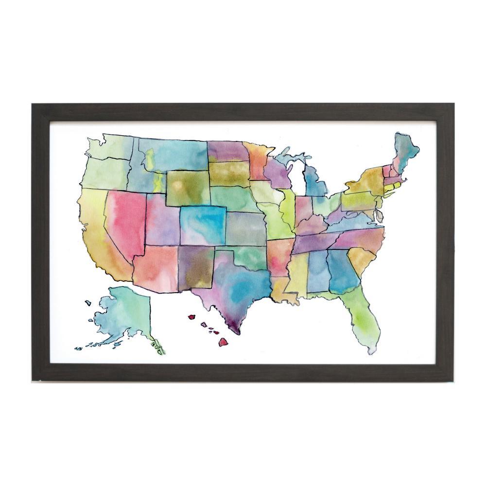 Watercolor Us Map, Ebony Frame, Magnetic Memo Board