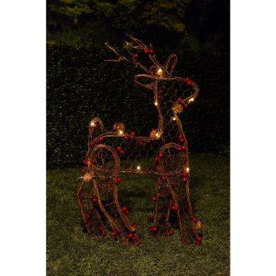 21 in. H Christmas Rattan Light-up Reindeer Decor