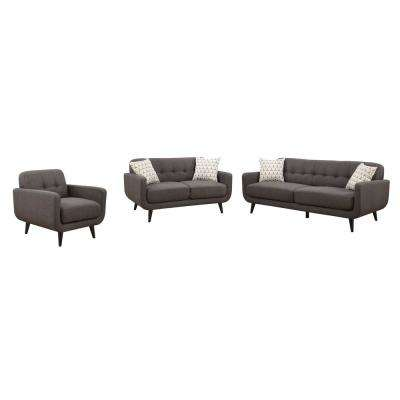 Crystal Upholstered Mid-Century 3-Piece Charcoal Living Room Set with 4-Accent Pillows