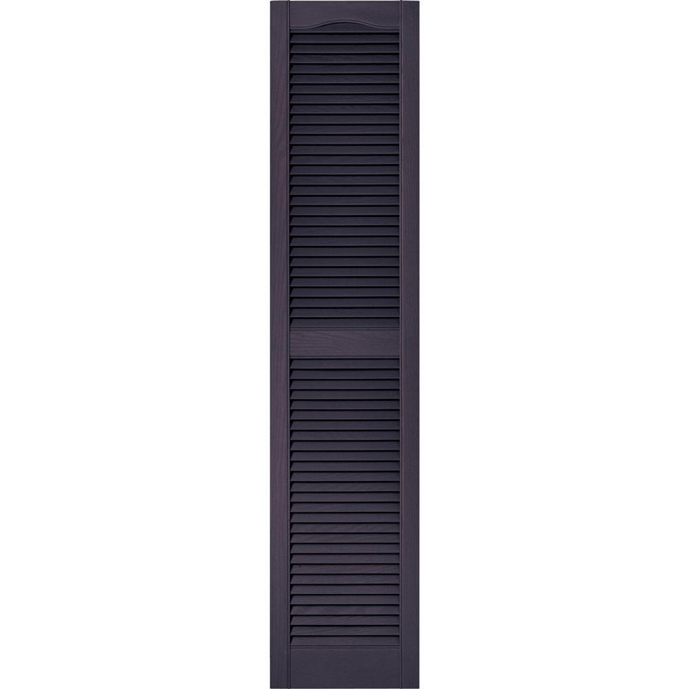 Builders Edge 15 in. x 67 in. Louvered Vinyl Exterior Shutters Pair in #285 Plum