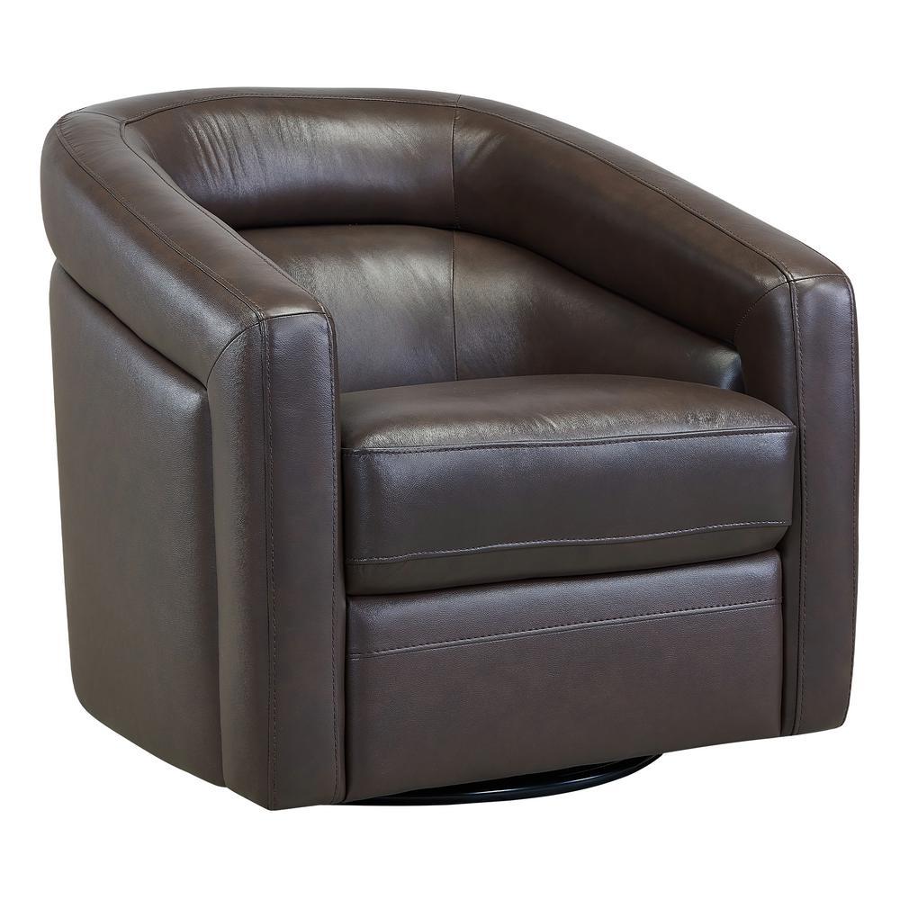 Desi Espresso Genuine Leather Contemporary Swivel Accent Chair