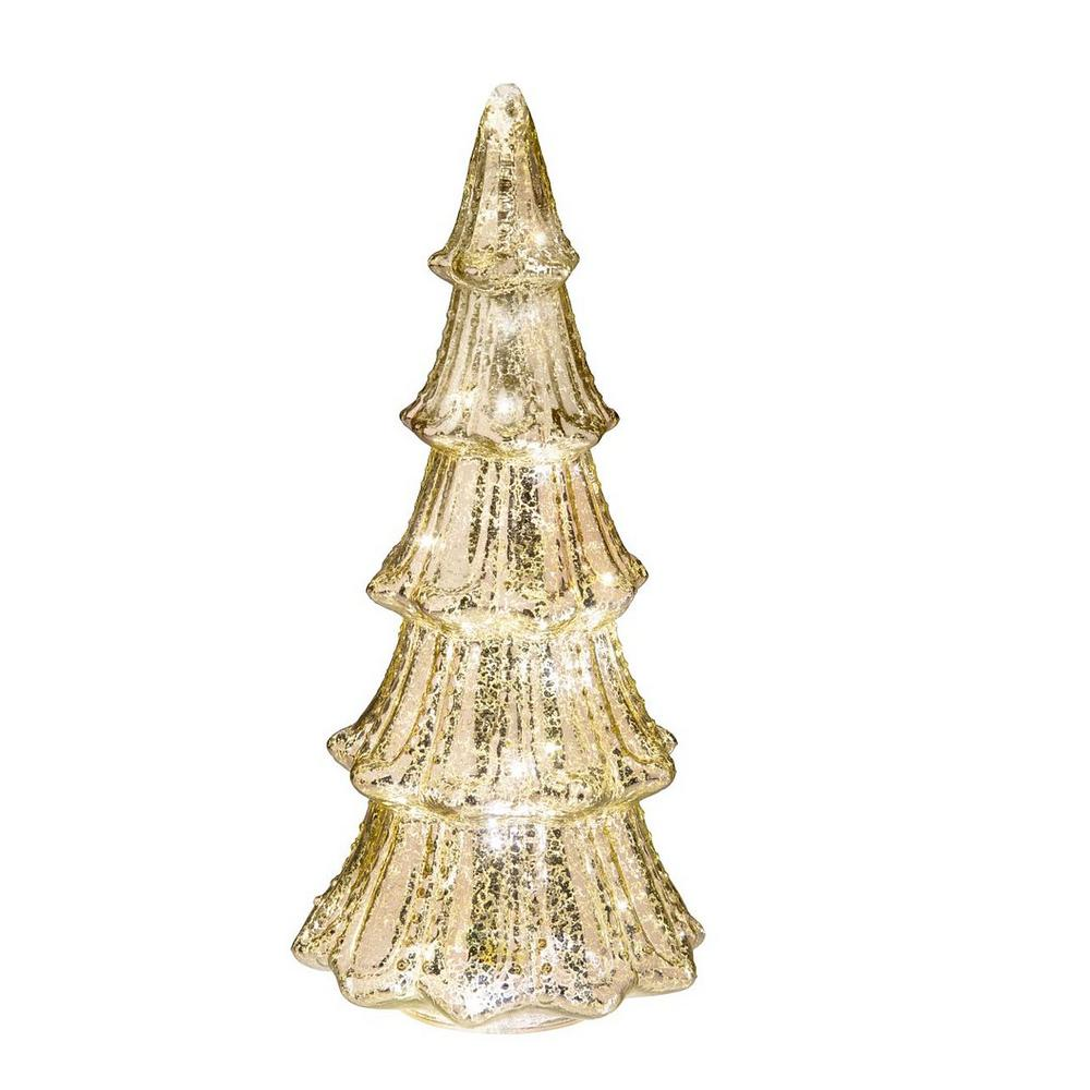 Haute Decor 14 In Christmas Tree Lighted Faux Mercury Glass