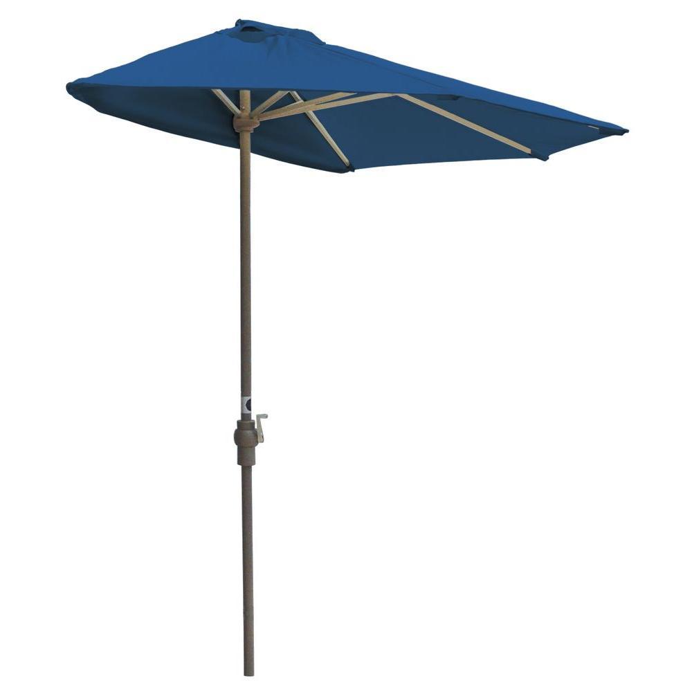 Off-The-Wall Brella 9 ft. Patio Half Umbrella in Blue Sunbrella