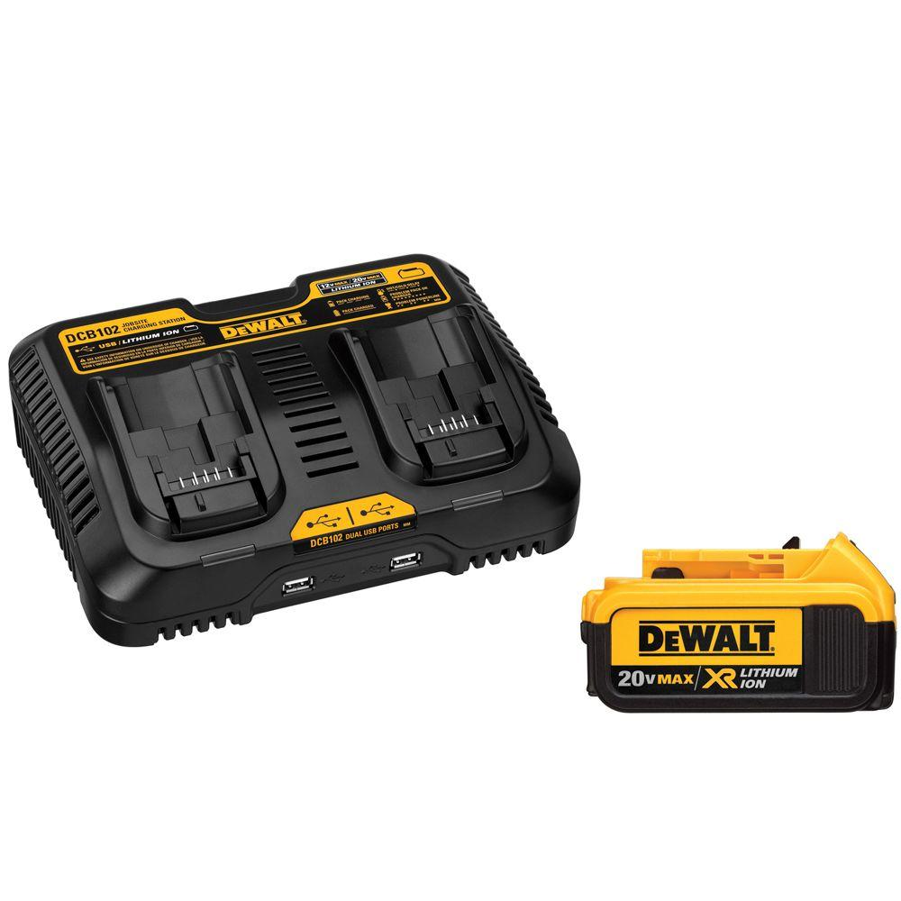 DEWALT 20-Volt MAX XR Lithium-Ion Premium Battery Pack 4.0Ah and Dual Port Charger with (2) USB Ports