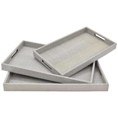 1.75 in. Grey Faux Leather Rectangle Decorative Tray (Set of 3)