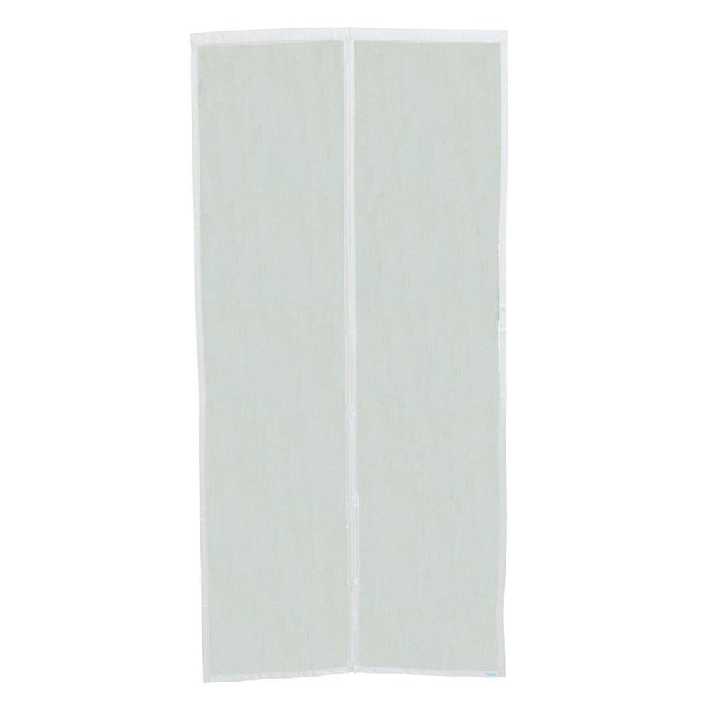 39 in. x 82 in. Black Fiberglass White Trim Magnetic Center Opening Screen Door