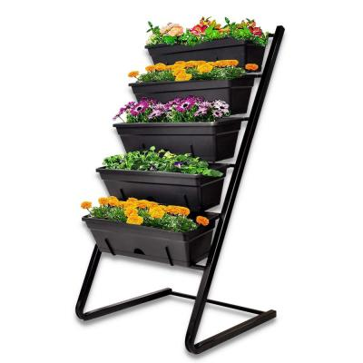 Vertical 41.3 in. H x 21.6 in. W x 19.7 in. L Black Metal with Plastic Container Boxes 5-Levels Raised Garden Bed