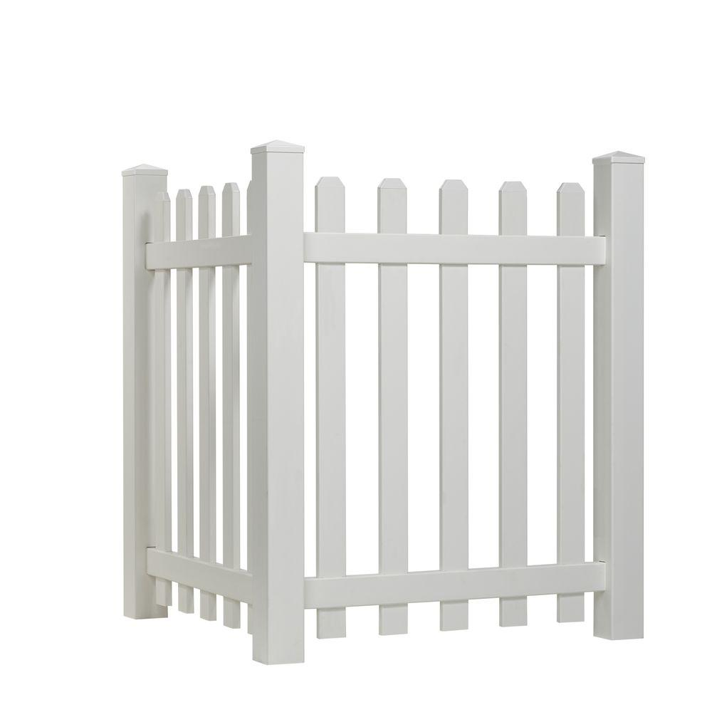Glendale 4 Ft H X 8 Ft W White Vinyl Spaced Picket