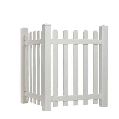 4 ft. H x 3.5 ft. W White Vinyl Dog Ear Spaced Picket Corner Accent Fence Panel Kit