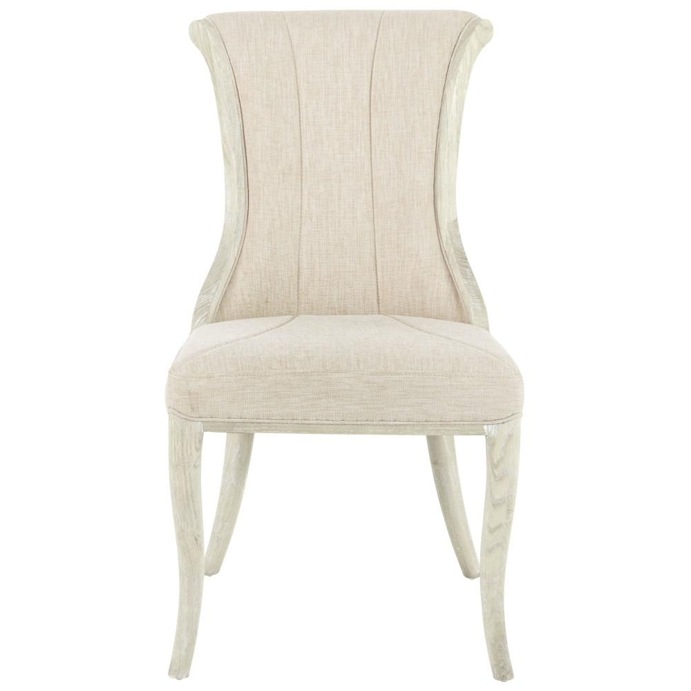 Jacques Natural Linen Flared Back Side Chair in Antique Ivory (Set
