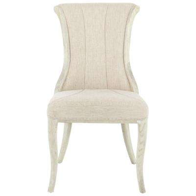 Jacques Natural Linen Flared Back Side Chair in Antique Ivory (Set of 2)
