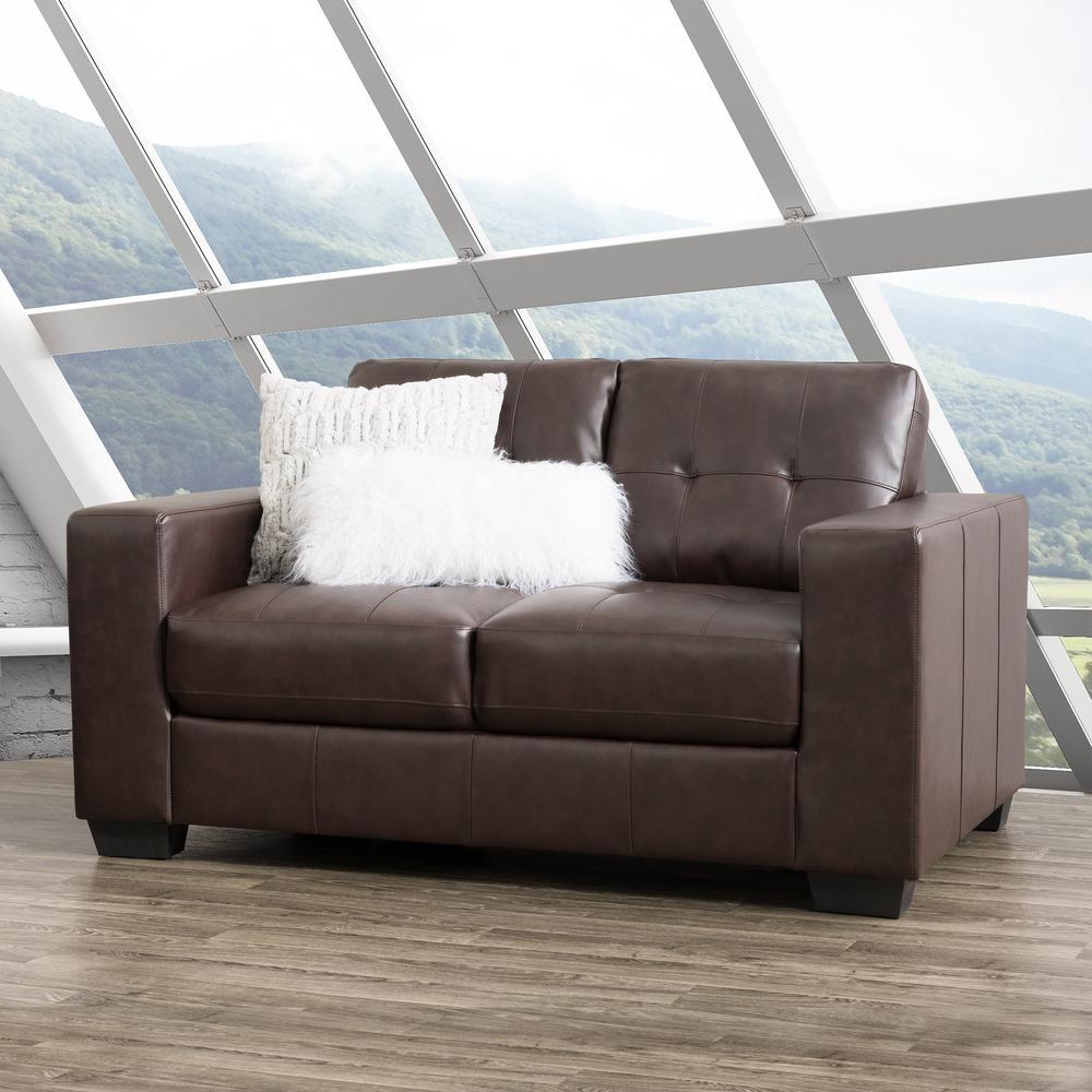 Superb Corliving Club Tufted Chocolate Brown Bonded Leather Frankydiablos Diy Chair Ideas Frankydiabloscom