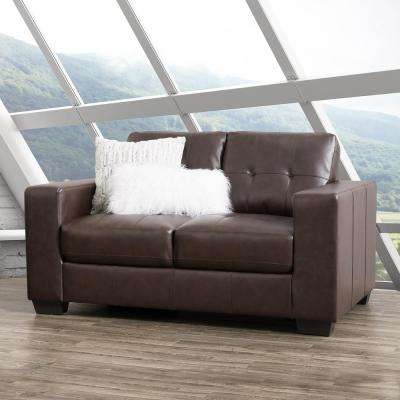 Club Tufted Chocolate Brown Bonded Leather Loveseat
