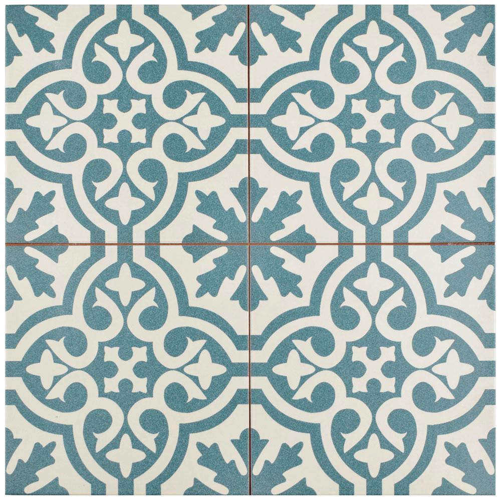 Berkeley Blue Encaustic 17-5/8 in. x 17-5/8 in. Ceramic Floor and