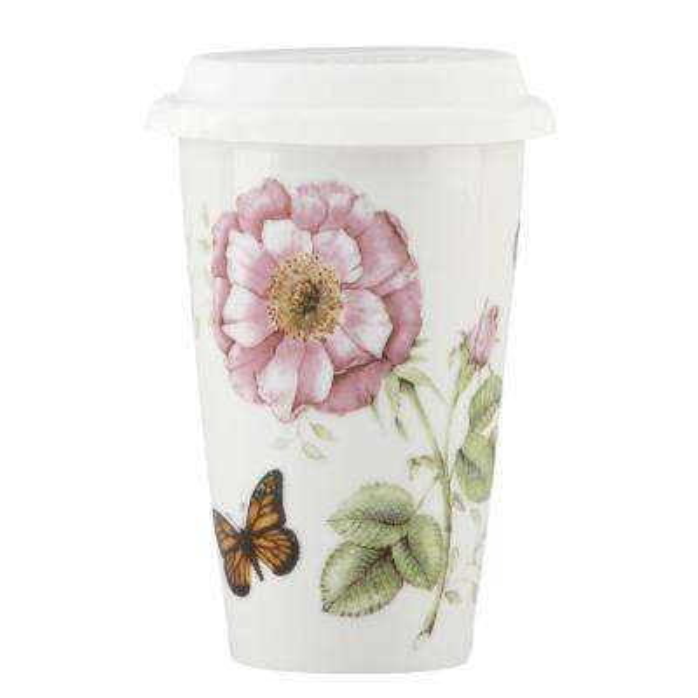 Butterfly Meadow 10 oz. Porcelain Mult-Color Travel Mug