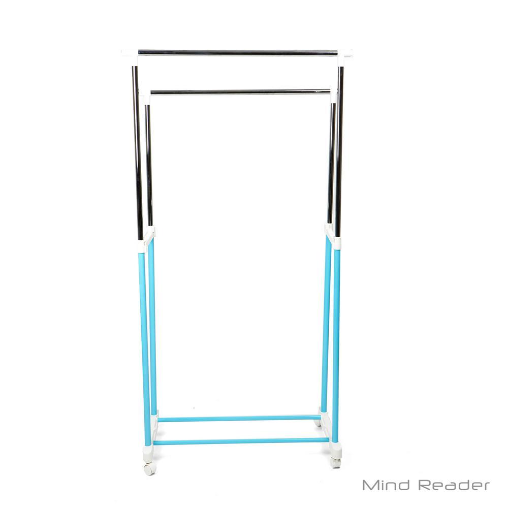 33.07 in. W x 65.7 in. H Blue Metal Double Bar Garment Rack