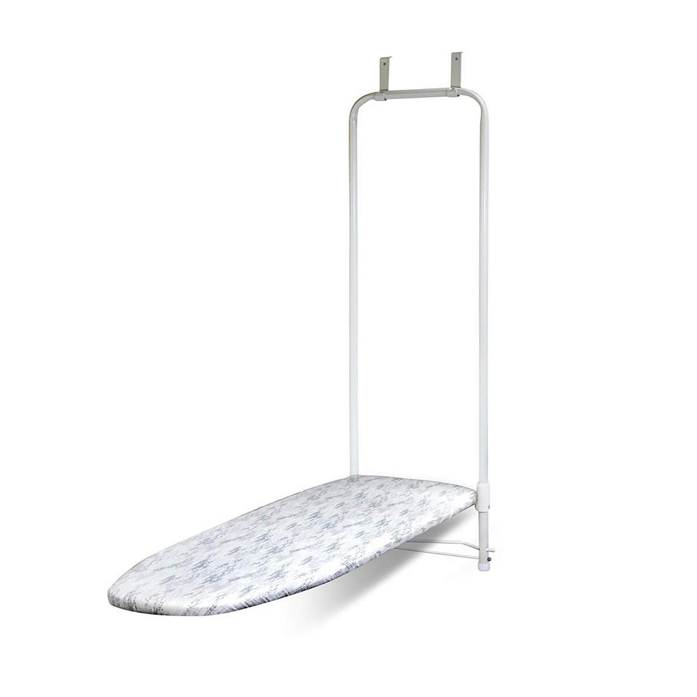 HOMZ HOMZ Forward Facing Over-the-Door Ironing Board with Steel Mesh Top, White